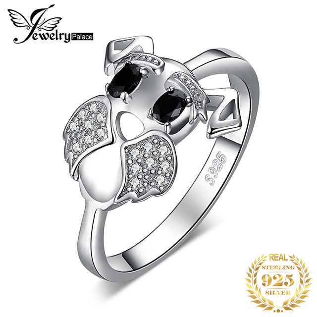 JewelryPalace Schnauzer Dog Genuine Black Spinel Ring 925 Sterling Silver Rings for Women Stackable Ring Silver 925 Jewelry