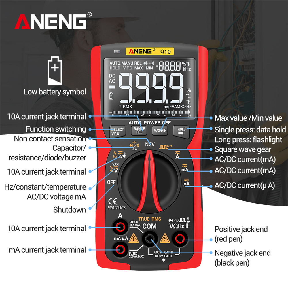 Tools : ANENG Q10 Digital Multimeter 9999 Professional Tester Multimetro True RMS Analog DIY Transistor Capacitor NCV Testers Lcr Meter