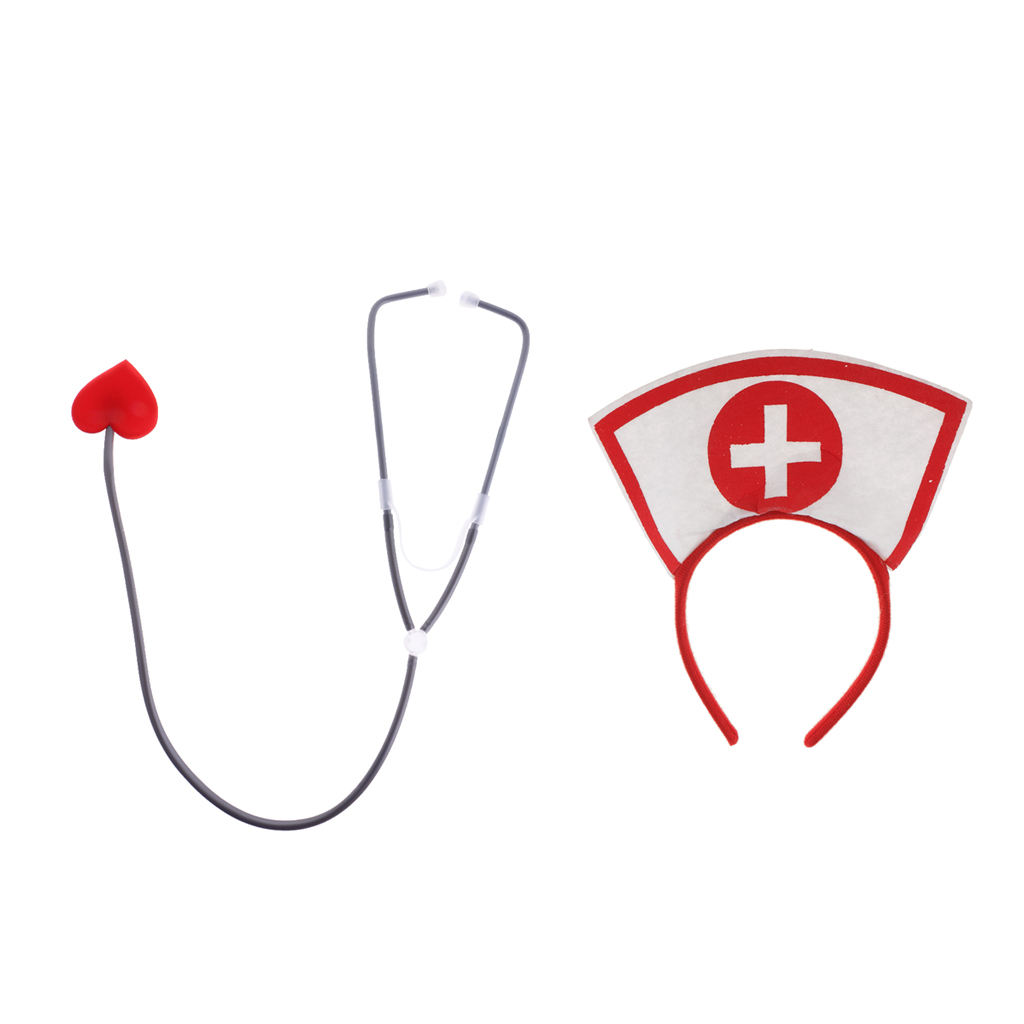 Red Nurse Doctor Headband Love Heart Stethoscope Woman Adults Fancy Dress Costume Halloween Hen Party Accessories