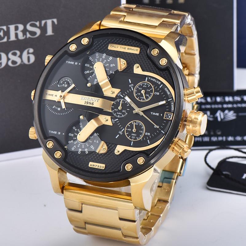 KUERST Mens Gold Watch Luxury Brand Waterproof Sport Quartz Chronograph Watches Clock Four Time Zone WristWatch Men 2019