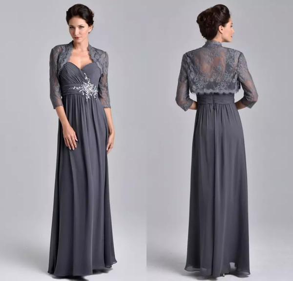 Hot Chiffon Long Gray Teal Mother Of The Bride Dresses with Lace Jacket 2019 Beads Empire Kurti vestido de fiesta noche madrinha