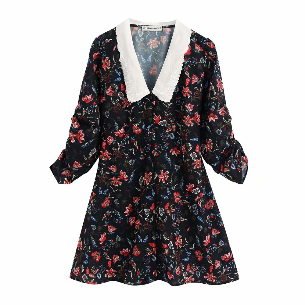 2020 Women Fashion Embroidery White Collar Patchwork Print A Line Dress Elegant Pleated Sleeve Vestidos Chic Casual Dress DS3397