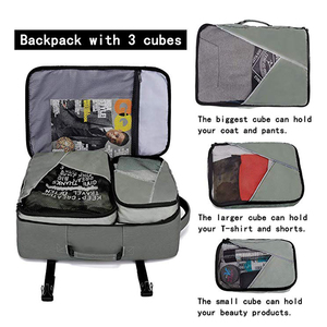 Image 2 - 2019 Travel Overnight Backpack,45L FAA Flight Approved Weekender Bag Carry on Backpack GREEN Backpack with 3 Cubes