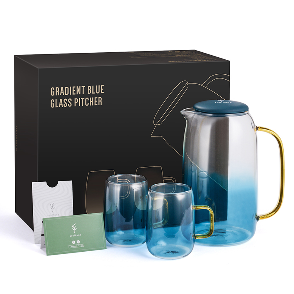1.5L Large Water Jug Glass Water Bottle Pitcher With 2 Cups Kettle Tea Pot With Handle Hot Cold Drinkware Glass Teapot