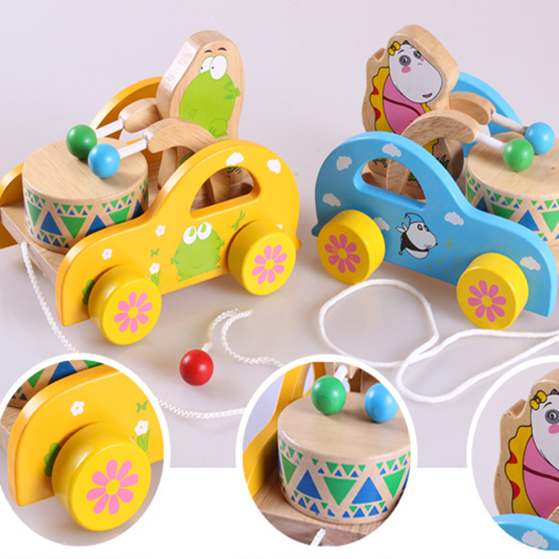 Creative Children's Hand Extended Leash Pull Toy Car Toddler Baby Toy Children Gift yellow/blue Wooden Play Beat Sound Tractor