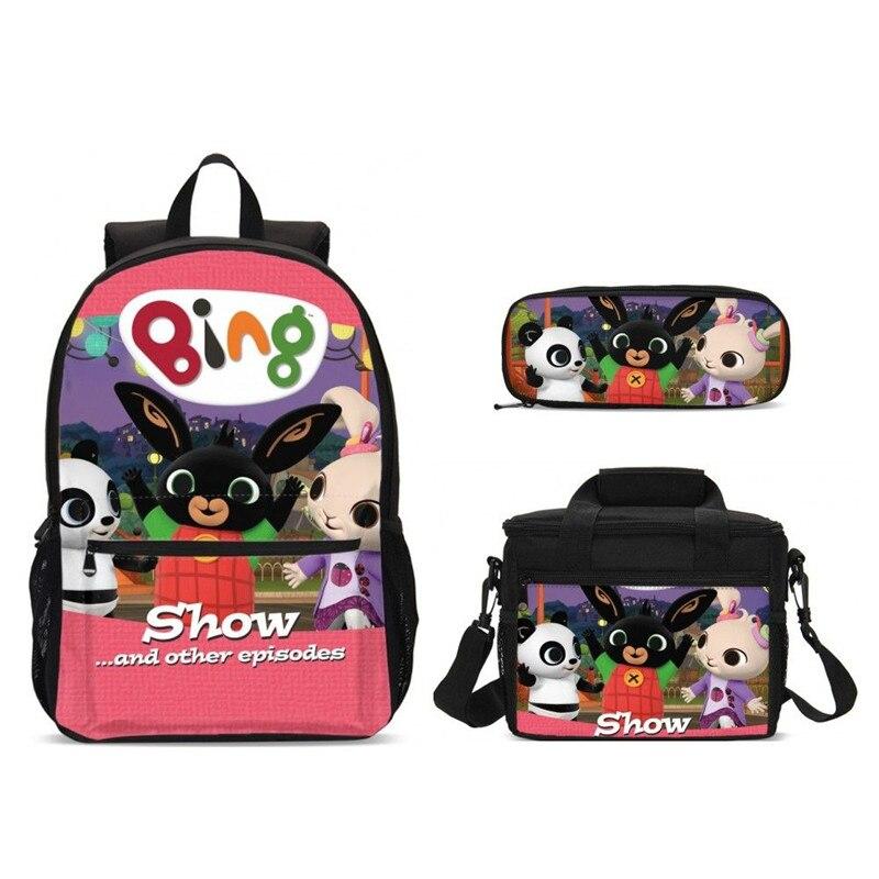 Femmes 3 pièces/ensemble sacs à dos scolaires dessin animé Bing Bunny cartable mode adolescent filles garçons sac à dos Moclila alimentaire boîte sac à bandoulière
