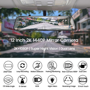Image 2 - Dropshipping  2K+GPS Car DVR 12 Inch Touch IPS Mirror Dual Lens Dashcam Car Cam G sensor Video Recorder With Rear View