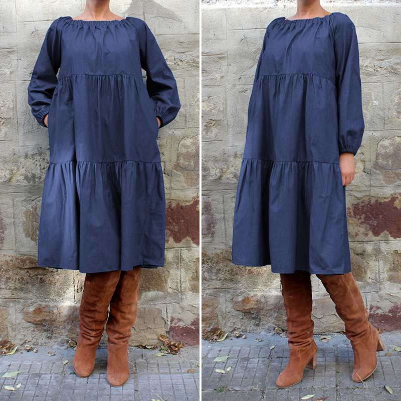 2019 Fashion Spring Autumn VONDA Womens Plus Size Ruffle Hem Maxi Long Denim Dress Casual Loose Solid Color Cotton Vestidos Robe