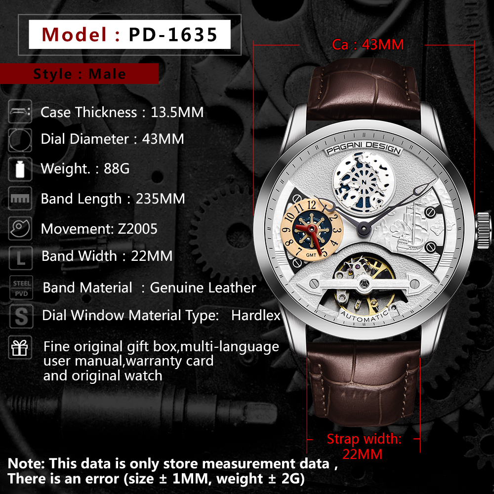 2020 free shipping New Fashion PAGANI Leather Tourbillon Watch Luxury Brand Automatic Men Watch Men Mechanical silver stainless Steel Watches Relogio Masculino (81)