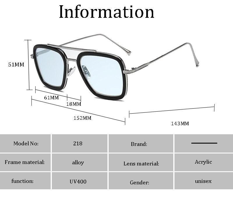 luxury Fashion Tony Stark Style for women Sunglasses Men Square Brand Design Sun Glasses Oculos Retro male 2