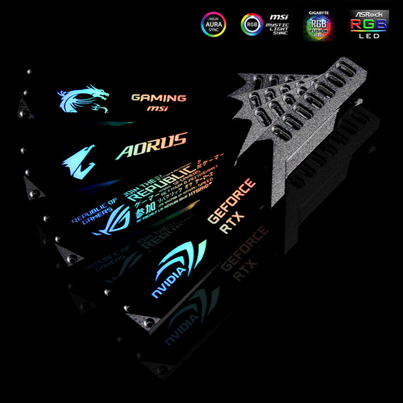 GPU Holder Bracket Aluminum Alloy Graphics Card Jack 5V 3PIN ARGB/ 12V 4PIN RGB VGA Frame NVIDIA ROG AORUS AURA SYNC Symphony