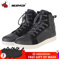 SCOYCO Motorcycle Boots Men Road Street Casual Shoes Microfiber Leather Moto Motocross Riding Boots Motorbike Shoes Size 39-46