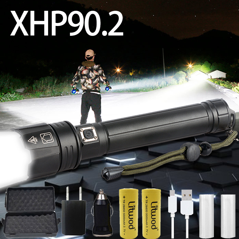 XHP90 Powerful LED Flashlight USB rechargeable Tactical Torch 3 mode XHP70.2 Zoomable Xlamp 18650 26650 Battey light for camping