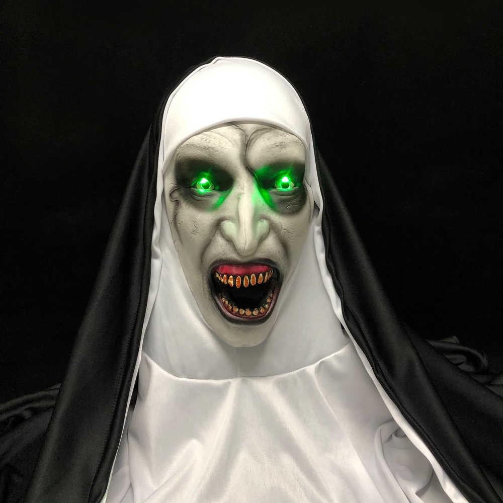 LED horreur le masque de nonne Cosplay effrayant Valak Latex masques avec foulard lumière Led accessoires de fête d'halloween de luxe