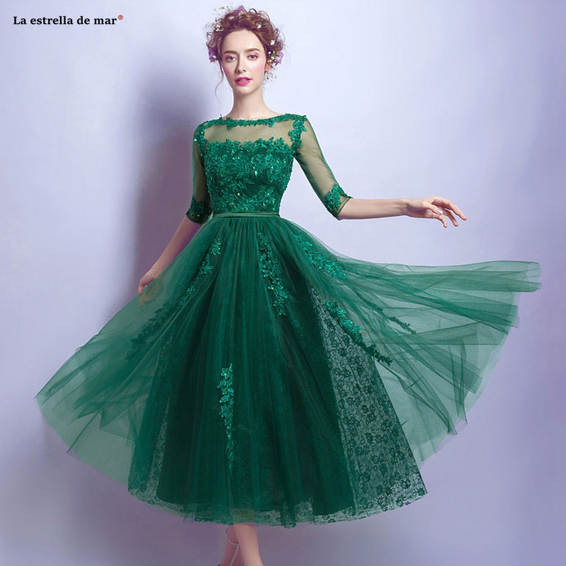 Wedding Dress Guest 2019 New Scoop Neck Lace Gauze Beaded Half Sleeve A Line Green Bridesmaid Dress Tea-Length Vestido Invitada