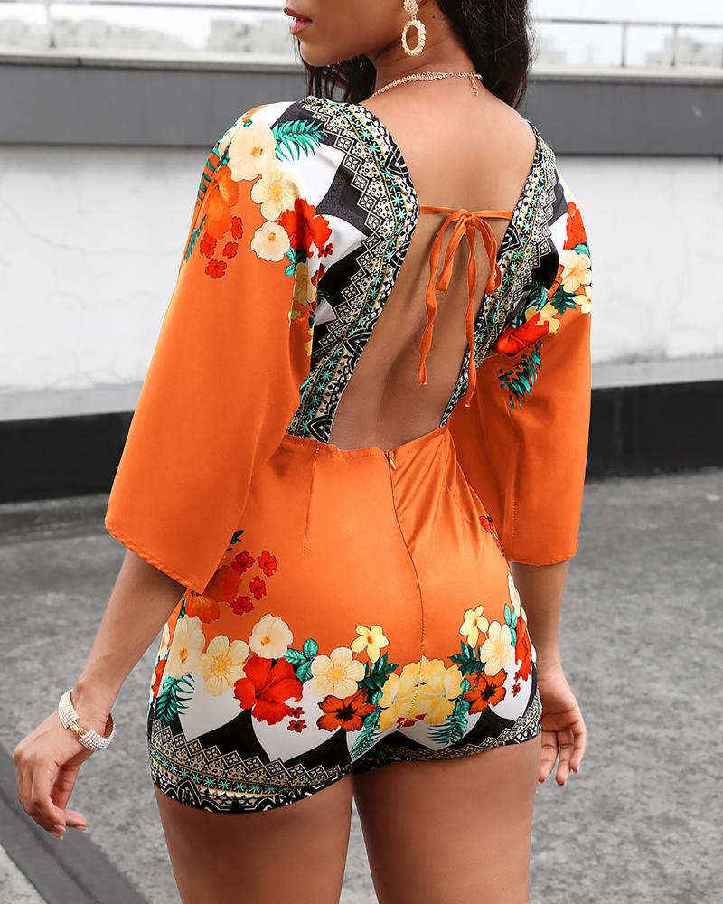 2020  Fashion Elegant Casual Romper Women Jumpsuit Female Overalls Half Sleeve Deep V Floral Print Romper