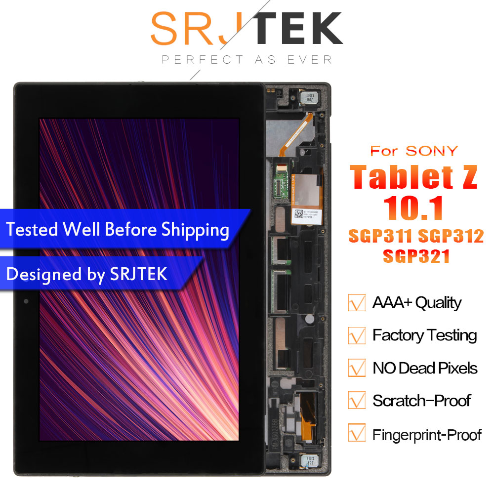 Srjtek For <font><b>Sony</b></font> Xperia Tablet Z 10.1 <font><b>SGP311</b></font> SGP312 SGP321 LCD Display Matrix Screen Touch Panel Tablet PC Assembly with Frame image