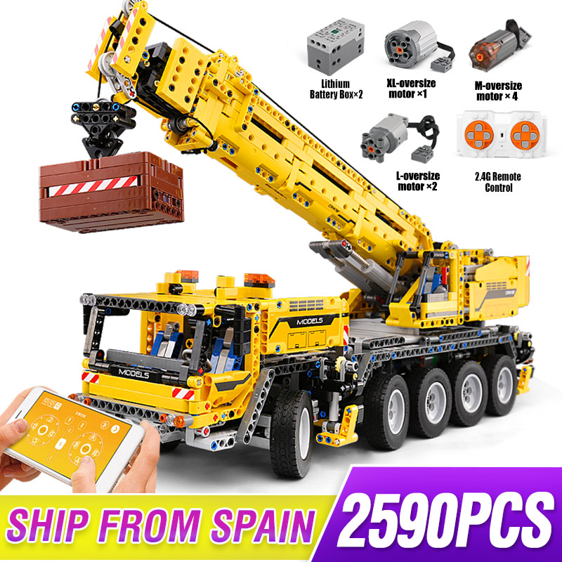 Technic Series Motor Power Mobile Hoist Crane Mk II Car Model Building Kits Blocks Bricks Compatible With Lepining 42009 Gifts