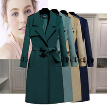 New women's windbreaker 2021 spring and autumn long Western style slim slim coat