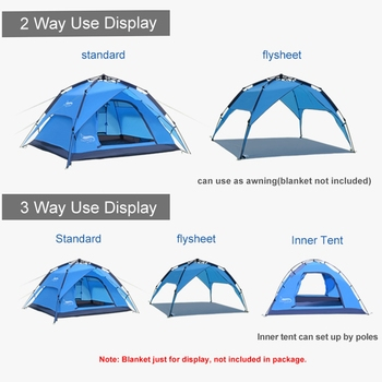 Desert&Fox Automatic Tent 3-4 Person Camping Tent,Easy Instant Setup Protable Backpacking for Sun Shelter,Travelling,Hiking 3