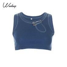 Weekeep-Camiseta sin mangas básica para mujer, ahuecados Tops cortos, Tops informales sólidos con cuello redondo, Top de moda 2020