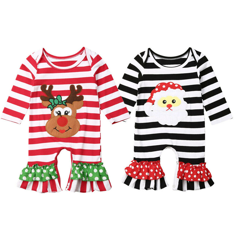 Christmas Toddler Baby Girls Long Sleeve Stripe Deer Print Dress Outfits Clothes