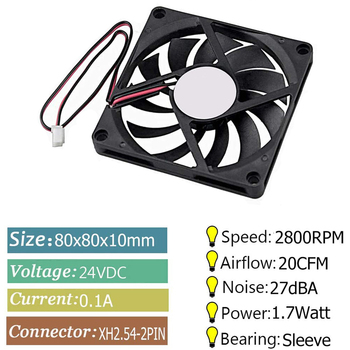 Black Coolling Fan 80mm 5V 12V 24V, 80mm x 80mm x 10mm 8010 Sleeve Bearing DC Brushless Cooling Fan For Computer CUP Cooling Fan image