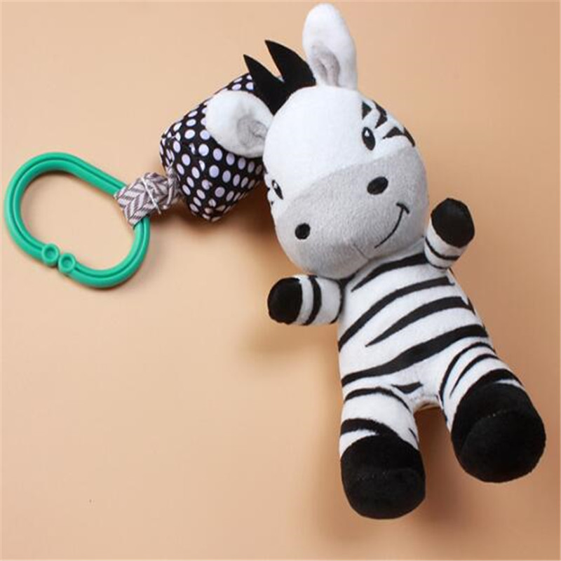 Baby Rattle Toys Cartoon Zebra Infant Mobile Cloth Toy Baby Trolley Bed Wind Chimes Rattles Bell Crib Hanging Bell Pacify Toys