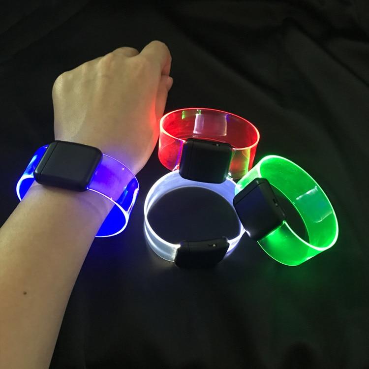 2pcs/lot 2019 Led Dance Led Light Up Toys Glow Happy Bracelet Flashing Wrist Band Toy Christmas Festival Event Party Supplies
