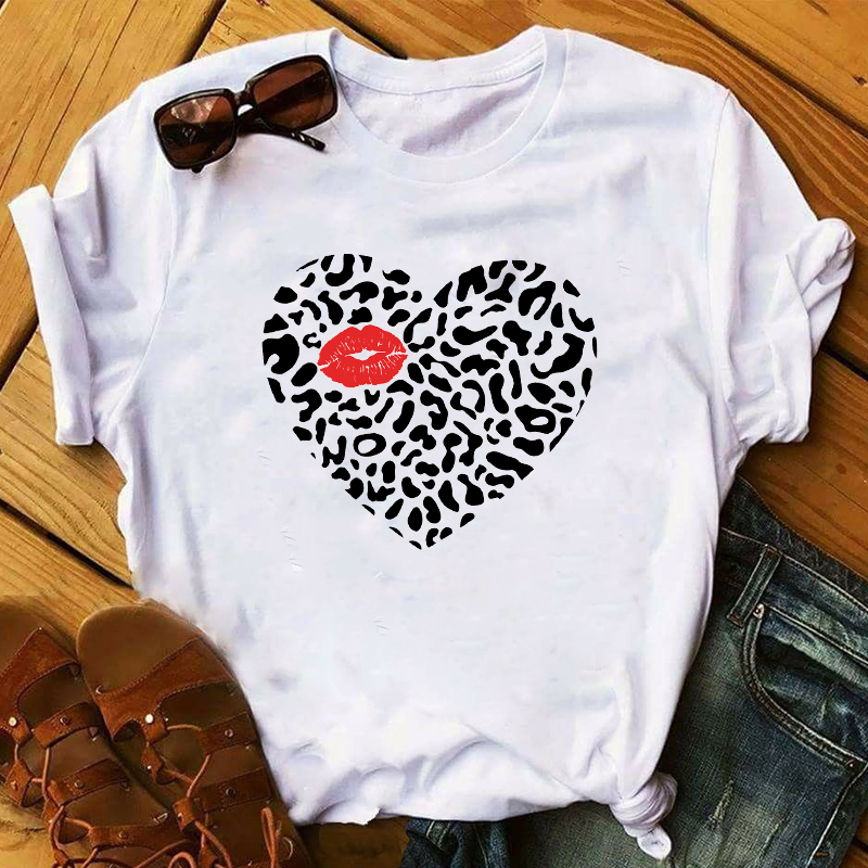 WVIOCE Women 90s Summer Leopard Print Lips T Shirt Femme Funny Grunge Aesthetic Harajuku T-shirt Woman Korean Style Tops Tees