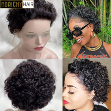 Morichy 13x1 Transparent Lace Human Hair Wigs Short Bob Curly Wigs For Women Kinky Curly 13x1 Lace front Wig 100% Human Hair Wig