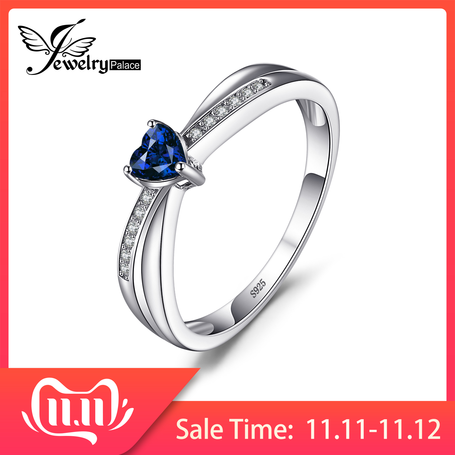 JPalace Heart Created Blue Sapphire Ring 925 Sterling Silver Rings For Women Promise Engagement Ring Silver 925 Gemstone Jewelry