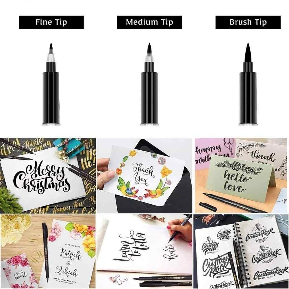 3 pièces calligraphie stylo ensemble Fine Liner pointe moyenne pinceau stylos pour Signature dessin main lettrage école Album Art fournitures A6867
