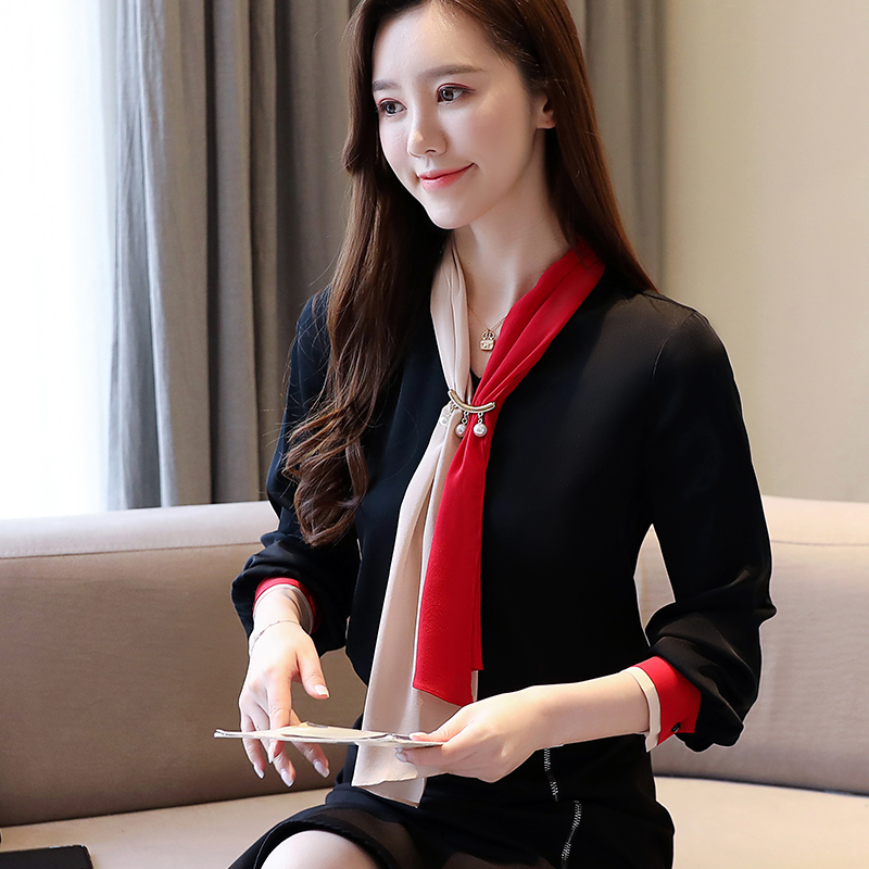 Casual V-neck Office Lady Blouse Vintage Chiffon Blouse Solid Long Sleeve Women Tops and Blouse 2020 Spring Clothes 8458 50 Women Women's Blouses Women's Clothings cb5feb1b7314637725a2e7: photo