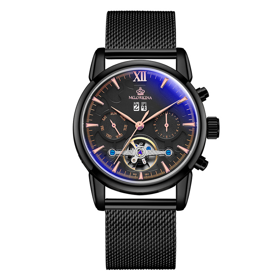 Automatic Mechanical Watch Men Fashion Multifunction Skeleton Sport Watch with Calendar Full Steel Mechanical Wristwatch Men