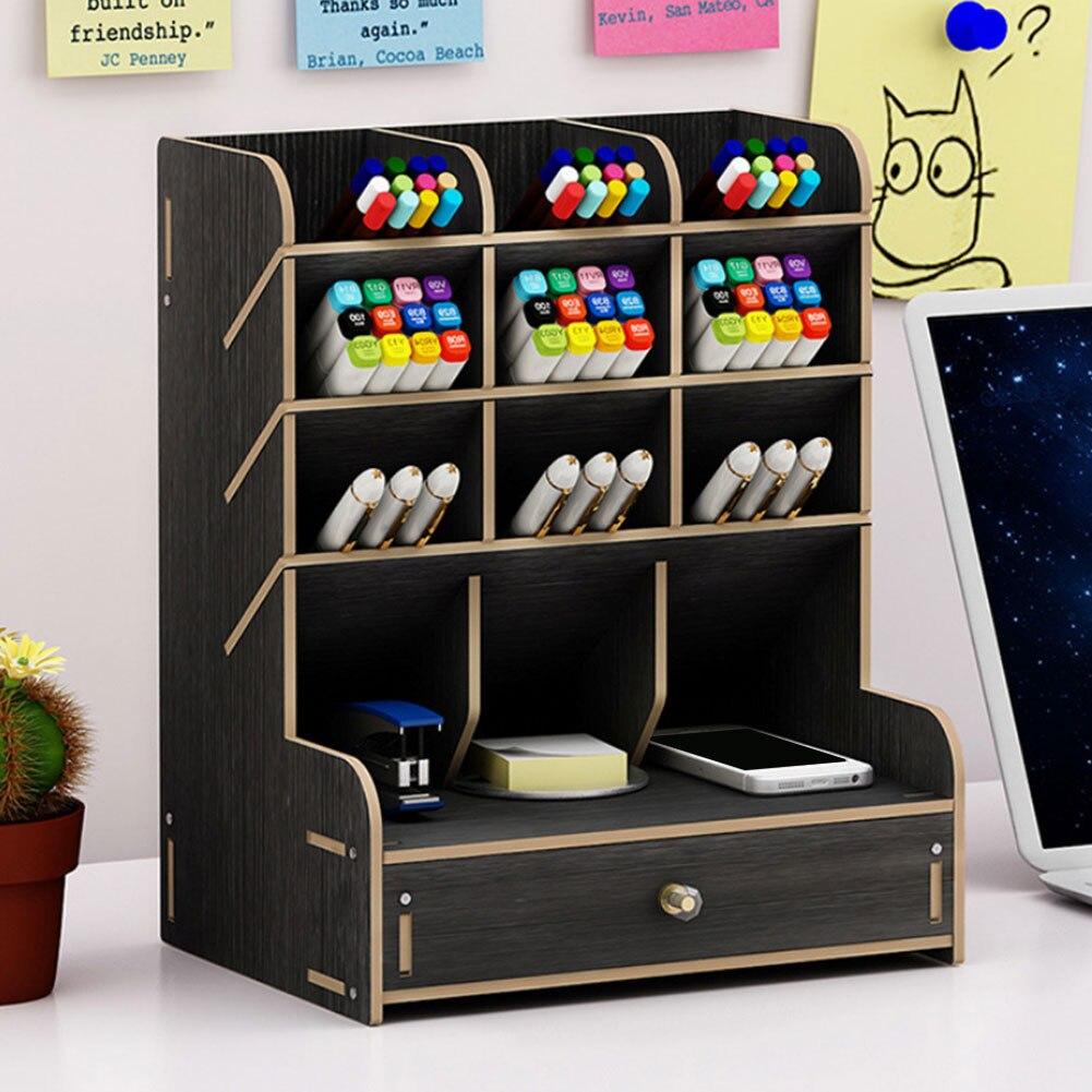 Купить с кэшбэком Multi-function Wooden Desktop Pen Holder Office School Storage Case Desk Pen Pencil Organizer