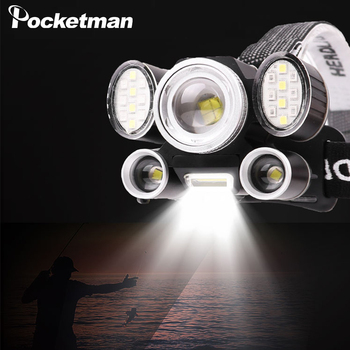 Brightest 6 Lens XHP50 LED Headlamp Zoom Headlight Hand-free Waterproof Head Flashlight LED Head Front Light Use 18650 Battery 1