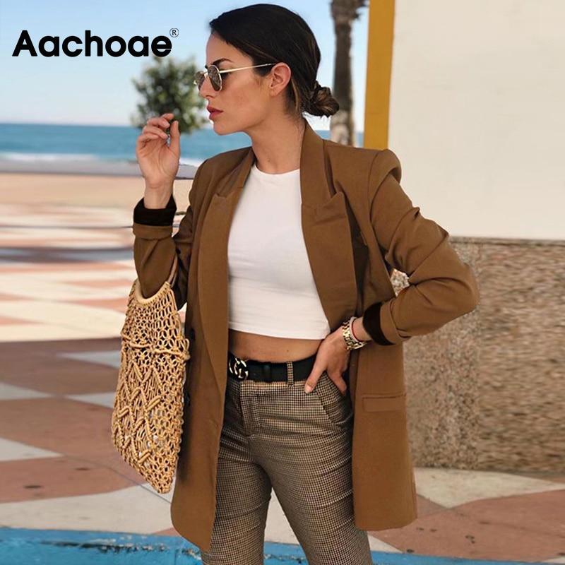 Aachoae Women Vintage Double Breasted Blazer Work Office Lady Suits Slim Coat Jacket Long Sleeve Ladies Blazers Female 2020