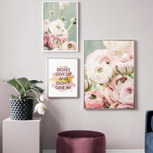 Plant Pink Rose Flower Dream Quotes Wall Art Canvas Painting Nordic Posters And Prints Pictures For Living Room Home Decor