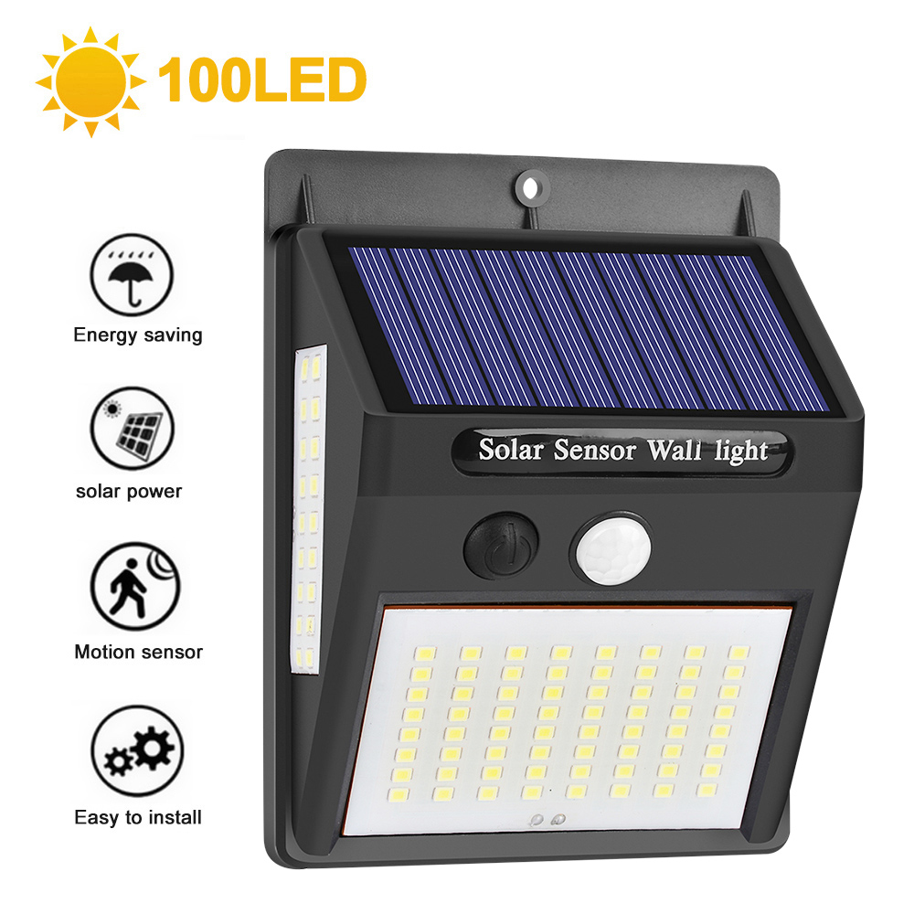 Junejour 1/2/4pcs Wall Light Waterproof 100 LED PIR Motion Sensor Solar Powered Sunlight Garden Decoration Outdoor Solar Lamp