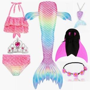 Image 1 - 女の子人魚の尾ブラジャーショーツ monofin 水着コスプレドレス子供子供マーメイドテール服水着フリッパー衣装