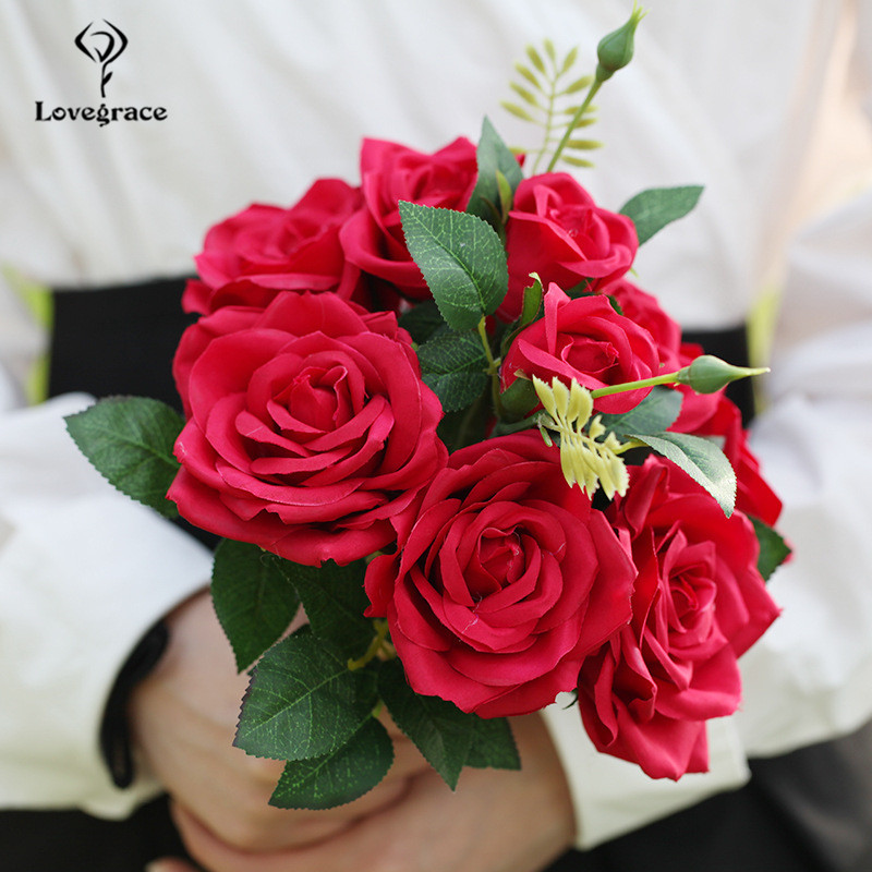 10 Heads Small Silk Artificial Flower Bouquet Red Fake Flowers Rose Bridal Holding Bouquet For Wedding Arch Home Decor Flowers