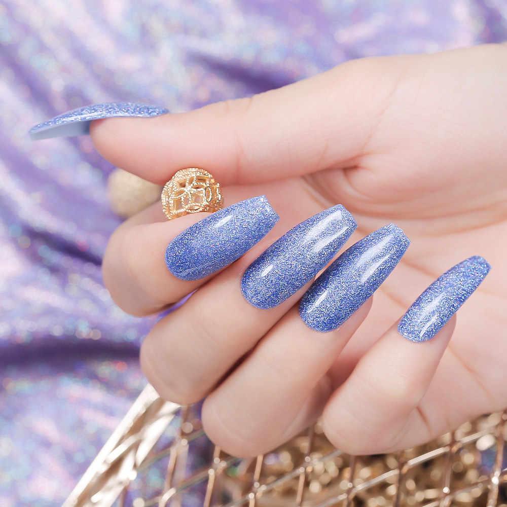 Modelones Neon Glitter Led Nail Gel Polish Losweken Blauwe Kleur Glitter Uv Nagellak Lak Langdurige Pailletten Hybrid gel