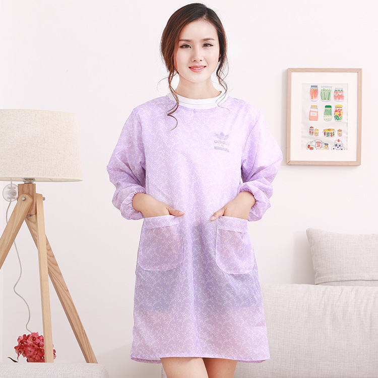Summer Long Sleeve Apron Adult Ultra-Thin Section Breathable Kitchen Waterproof Fashion Protective Clothing Coat Women's Summer