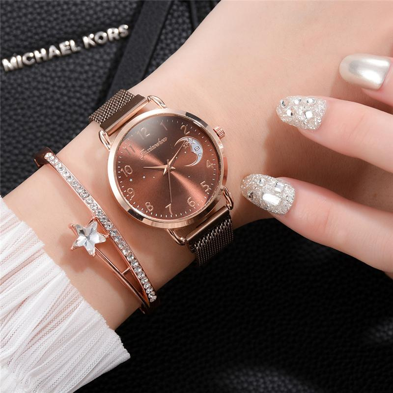 Rose Gold Mesh Strap Women's Fashion Watches Simple Numbers Dial Luxury Quartz Watch Women Clock Rose Gold Pointer Wristwatches 3