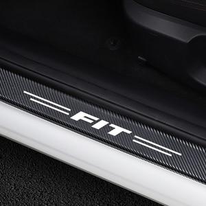 4 шт., автомобильный Стайлинг, углеродное волокно, автомобильный порог, протектор, Декор, наклейки, наклейки для Honda, подходят для авто, порог ...