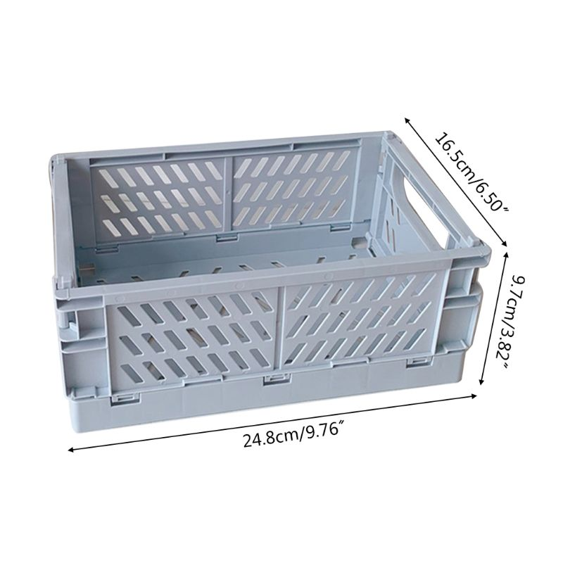 Collapsible Crate Plastic Folding Storage Box Basket Utility Cosmetic Container Q1JC