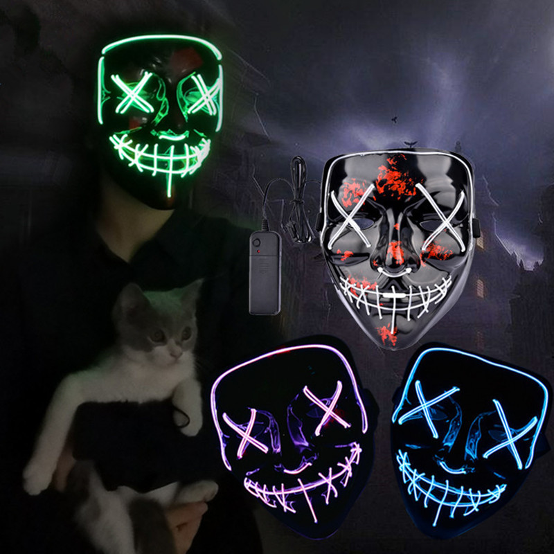 LED Mask Cool Halloween Party Glow Ghost Scary Masque Masquerade Maske Neon Masker Purge Fluorescent Face Full Face Horror Maska