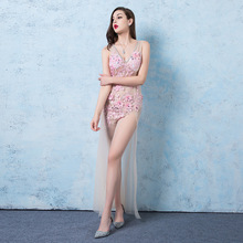 Sexy Perspective V-neck Evening Dress Applique Mermaid Dresses Nightclub Costume Long High Split Host Pink