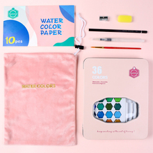 36 Color Solid Watercolor Gouache Beginners Painting Pigment W/ Water Brush Pen Portable Water Color Pigment Drawing Gifts Box
